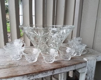 Large Crystal Punch Bowl Set with 11 Cups
