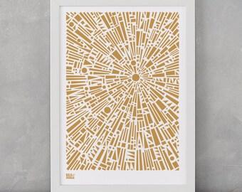 Geometric Wall Art, Morning Light Decorative Screen Print, Bronze Art Print, Shape Wall Design, Home Decor, Home Gifts