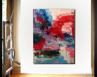 Original large abstract painting palette knife wall art deco by Elsisy 48x36 Free US shipping Red blue
