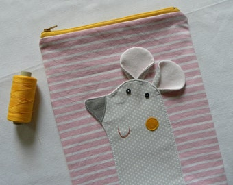 Mouse pouch on PINK stripes