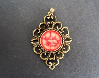 Antique Gold Red Fancy Pendant