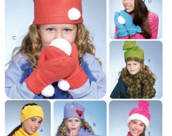 HAT SCARF MITTERNS Sewing Pattern ~ Child's Girl's Hats Scarves Winter Gear Retired Uncut