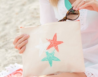 4 monogrammed bridesmaid gifts starfish personalized makeup bag bridal shower cosmetic accessory Outer Banks wedding BeachHouseDreamsHomeOBX
