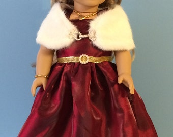 Burgandy Formal Gown with Gold Trims Handmade for 18 Inch Dolls Such as the American Girl Dolls