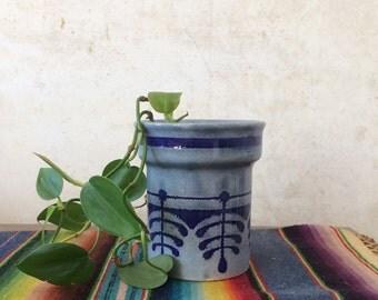 Vintage Mid Century Stoneware Pottery Mug Cup Planter Hand Painted Indigo West Germany waechtersbach