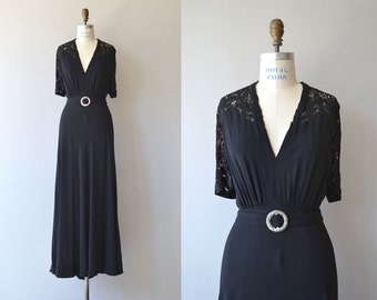 Sabine lace back gown | vintage 1930s gown | black rayon 30s dress