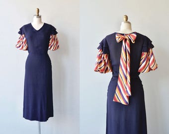 Celebration dress | vintage 1930s dress | rayon 30s day dress