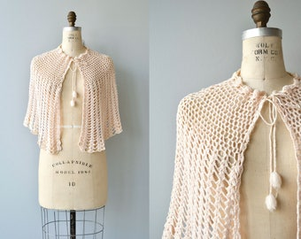 Shell crochet capelet | vintage crochet wrap | cotton crochet shrug