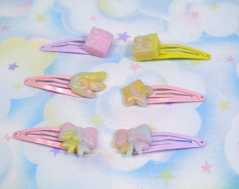 Translucent fairy kei snap clip sets - Polymer clay decora pastel hair clips