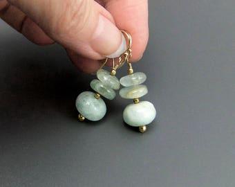 Organic Aquamarine Gemstone Bead Drop Earrings Handmade gold filled ear hooks, natural hand cut beads