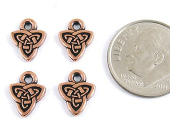 TierraCast Double Sided Pewter Charms-COPPER CELTIC TRIAD (4)