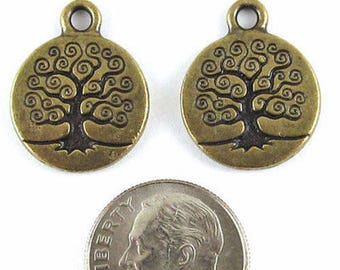 TierraCast Pewter Charms-Brass Oxide TREE OF LIFE (2)