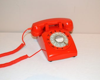 Vintage True Red Rotary Dial Phone