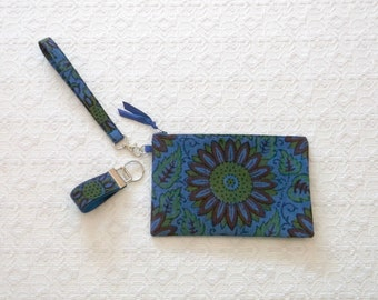 Boho Handprinted Floral Indonesian Clutch Wristlet Handbag