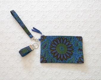 Boho Handprinted Floral Indonesian Clutch Wristlet Handbag