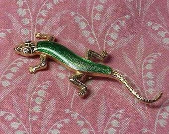 Vintage Gecko Green Lizard Enamel Brooch pin