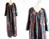 Anthony Richards Vintage Cotton Abstract Paint Design Woman's Retro Mu Mu Caftan Dress