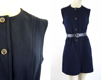 Butte Knit Navy Blue Waffle Cotton Vintage Woman's Belted Vintage Shift Dress