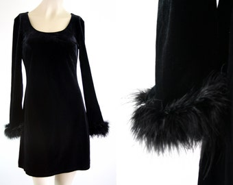 Steppin' Out Long Sleeve with Feather Accent LBD Black Scoop Neck Woman's Vintage Dress