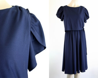 Navy Blue Polyester Lightweight Double Layer Chic Woman's Vintage Dress