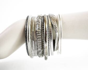 Silver Tone Vintage Mix of 12 Bangle Bracelets