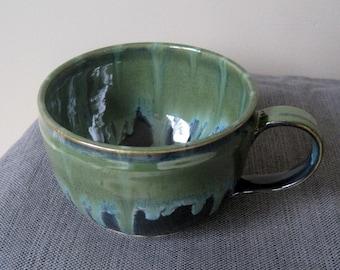 Soup Mug, Blue Green Mug, Gift for Him, Large Pottery Mug, Ceramic Mug