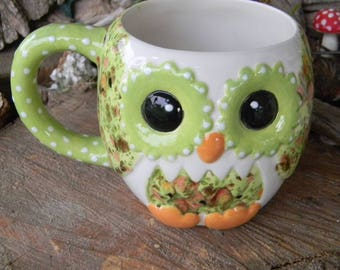 Ceramic OWL Mug Cup - Coffee Tea or decoration - Kitchen Vessel Large  Cup lime green crystal   om