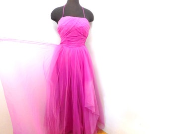 Vintage 50s Orchid Pink Tulle Prom Dress Party Gown Pleated Petal Bust Princess XS S
