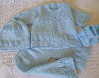 Newborn Outfit, Christening Boy Set, Knitted Clothing, Take Home, Coming Home, Baby Shower, Phot Prop, Baby Ensemble.