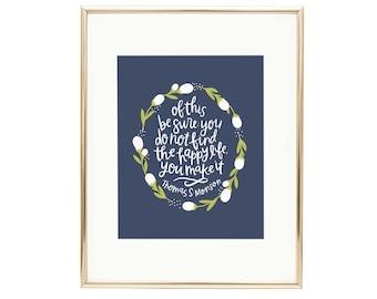 Happy Floral Print | LDS Quote Happy Life AZ108