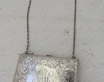 Victorian Floral and Scroll Etched Card Purse with Link Chain/Original Owner's Card in Place