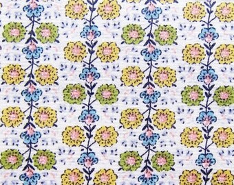 Floral Print Fabric By The Yard - Wallpaper Floral - Cotton Fabric - Half Yard