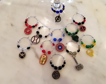 Superhero  Comic Book   Themed  Wine Charms w/Pouch