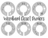 Woodland Nursery Closet Dividers, Tribal Nursery, Baby Clothes Dividers, Plastic Clothes Organizer, Gray or Custom Colors