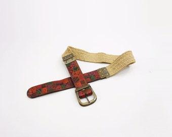 Tooled Leather Belt 70s Vintage Belt Boho Leather Belt Vintage Jute Belt Elastic Jute Belt Hand Painted Leather Woven Jute Belt m