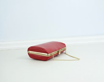 60s Red Box Clutch Vintage Red Purse 60s Red Leather Bag 60s Small Red Purse 60s Red Evening Bag 60s Red Chain Bag Hard Shell Red Bag