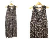 Floral Dress Frock Loose Fit Sun Dress Festival Dress Vintage 1990s Long Black Rayon Flower Print SunDress Midi Dress Womens Size Medium