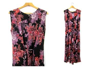 1990s dress Long Rayon dress Black Purple Pink floral Print BOHO FROCK womens maxi revival Baggy Tie Back Dress size Small Medium