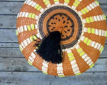Vintage Gypsy Poof Pillow Moroccan Textile Pillow Seat Cushion Stool Floor Cushion Bohemian Caravan Decor Orange Green Black Tassel