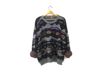 80s Retro Sweater Abstract Boyfriend Pullover Slouchy Purple Gray Abstract Sweater Pattern Knit Oversized JUMPER Men's Size 2X