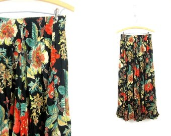 Long Floral Skirt Black Rayon Gauze Flower Print Maxi Skirt Bohemian High Waist Elastic Skirt 1990s Revival Womens size 12 Large