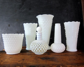 Milk Glass Collection Vintage White Milk Glass Vases Planters tall hobnail vase Bottle Cottage Chic Home Decor Instant Collection