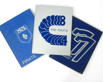 vintage 1970s 1980s Yearbooks Oxford Junction Iowa High School Year Book 1975 1977 & 1984 Retro Book Decor The Pirate