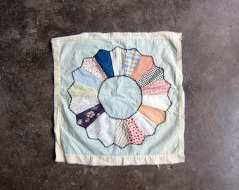 Antique Quilt Block hand stitched floral Shabby Chic fabric vintage handsewn Folk Art hand pieced quilt starter fabric destash Circle Square