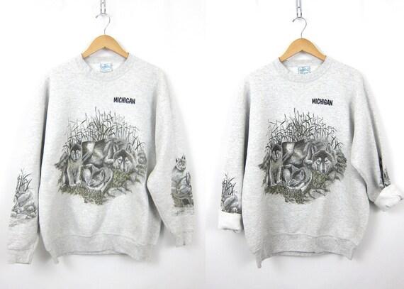 Vintage Gray WOLF Sweatshirt Grunge 1990s Sweater Hipster Baggy Novelty Michigan State Souvenir Tomboy Sweatshirt Size Large XL