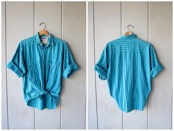 80s Striped Cotton Shirt Button Up Blouse Blue Hipster Button Up Shirt Short Sleeve Shirt Tee Hipster Surfer DES Vintage Mens Large Medium