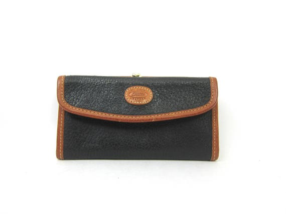 Vintage Black and Brown Leather Wallet Billfold Womens wallet Coin Purse Checkbook Holder Preppy All Season Leather Bag
