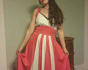 60s 70s maxi dress two tone harlequin circus fidgeted vintage bombshell pinup