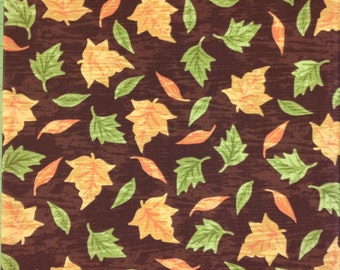 Harvest Fall Autumn Fabric - Orange & Green Leaves on Dark Brown YARDS