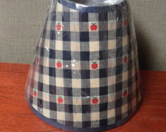 Navy and White Checked with Red Apples - Lampshade